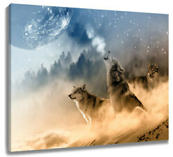 forest Wild Wolves Canvas Wall Modern Art Oil Painting Home Office Decor $15.99