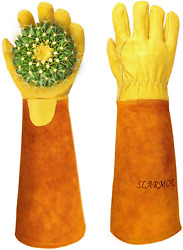 Gardening Gloves For Women Men Rose Pruning Thorn Proof Cowhide Leather Long For $16.99