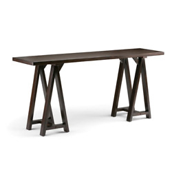 Sawhorse 66 in. Dark Chestnut Brown Standard Rectangle Wood Console Table $242.86