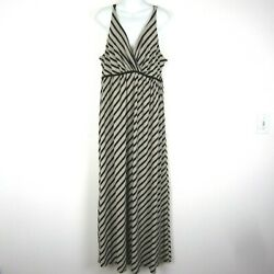 Soma Size XL Striped Beige Black Maxi Dress Thin Straps Crossover Bust $24.00