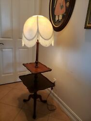 Antique RARE Two Tier Cherry Rectangular Table Side floor lamp with fringe shade $250.00