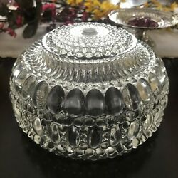 Vintage shade hobnail bubble bead light ROUND globe ornate clear glass $25.00