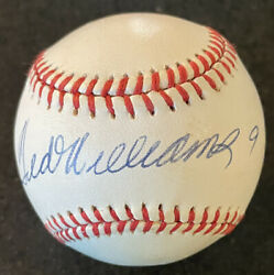 TED WILLIAMS SIGNED AUTOGRAPHED AL BASEBALL INSCRIBED 9 Jersey # PSA RED SOX $1499.00
