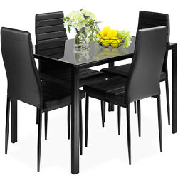 5 Piece Dining Table Sets Glass Metal 4 PU Leather Chairs Kitchen Room Furniture $213.99