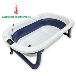 Collapsable Baby Bathtub with Thermometre Blue Foldable Shower Tub with Drain $39.98