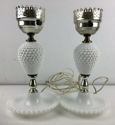 """Two Vintage Hobnail White Milk Glass Lamps 11.5"""" No Shades Lights Up Brass Fit $39.99"""