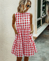 WOMEN#x27;S RED WHITE GINGHAM SUMMER DRESS SUPER CUTE COOL COMFY amp; POCKETS $20.00