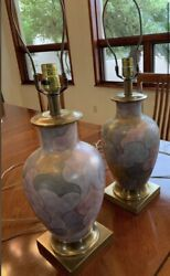 Two Vintage Frederick Cooper Porcelain amp; Brass Multi Color Gold Gilted Lamps $395.00