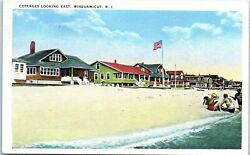 Postcard RI Cottages Looking East Misquamicut in Westerly Rhode Island c1920s $12.99