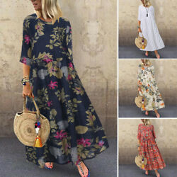 US STOCK Women Vintage Floral Ladies Holiday Party O Neck Long Maxi Shirt Dress $18.79
