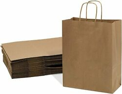 Brown Kraft Paper Bags with Handles Birthday Parties Restaurant takeouts... $13.99