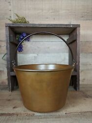 Early Antique Brass Bucket with Wrought Iron Handle $69.00