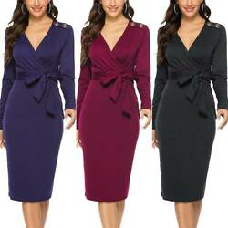 Womens V Neck Bodycon Midi Dress High Waist Evening Party Club Cocktail Dresses $23.17