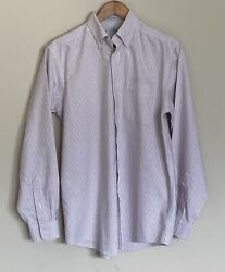 LL Bean Mens Dress Wrinkle Resistant Shirt 15 34 Pink and White Stripe $21.99