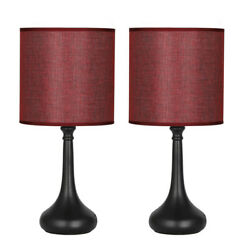 Set of 2 Bedside Table Lamps Wine Red Line Fabric Lampshade Black Lamp Base $29.99