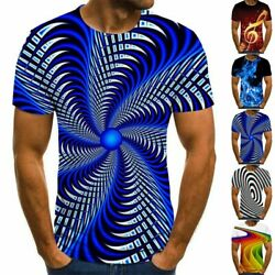 Fashion Mens Funny 3D Print T Shirt Casual Crew Neck Short Sleeve Tops Tee L 3XL $12.02