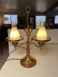 Vintage Double Arm Brass Desk Lamp with Wooden Base. No lampshades $35.00