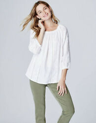 J Jill Love Linen Embroidered Vines Peasant Top Boho Size Small White 3 4 Sleeve $34.99