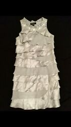 👗S.L. Fashions Size 4P 4 Petite Silver Tiered Lined Formal Party Dress $9.99