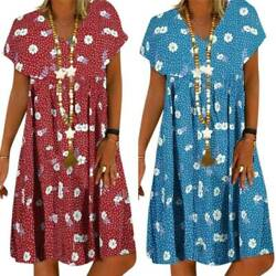 Women Short Sleeve Boho Floral Dress Kaftan Summer Tunic T Shirt Dress Plus Size $15.48