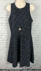 Xhilaration Navy Floral Dress Large Fit amp; Flare Keyhole Cutout Sleeveless NWT $14.99