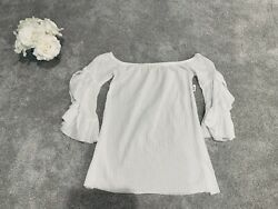 WHITE BOHO SHIRT TOP COVER UP TUNIC DRESS WOMEN SIZE MEDIUM M JR LARGE L $7.99