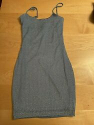 LUCY IN THE SKY mini dress XS Light blue Sparkly NEW $25.00