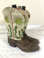 Justin 6321 Mistral Goat Leather Custom Cactus Wetstern Cowboy Boots Size 10 EE $200.00
