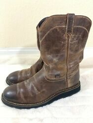 Mens JUSTIN WK4986 Brown Leather Western Cowboy Boots Size 12 D $65.00