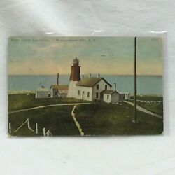 Vintage Postcard Point Judith Lighthouse Narragansett Rhode Island Scene 1911 $13.99