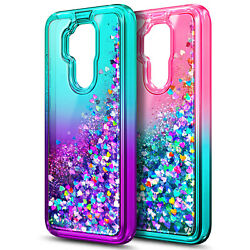 For ATamp;T Maestro Plus Case Liquid Glitter Bling Cute Cover with Tempered Glass $9.99