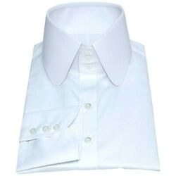 Mens High Round collar shirt White Penny Peaky Blinders Tall Neck collar Gents $116.13