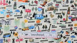 United States USA America American Symbols Toss Novelty Cotton Fabric BTY M $7.99
