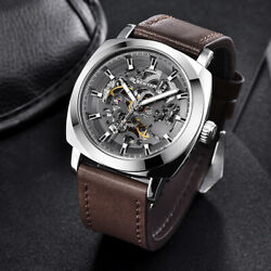 Mens Watches Automatic Mechanical Genuine Leather Band Big Size Waterproof Watch $49.99