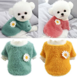 Plush Flowers Sweater Pet Dog Clothes Winter Warm Fleece Coat For Small Dogs US $8.86