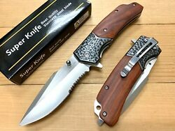 """8.5"""" Wood Tactical Survival Spring Assisted Open Pocket Knife EDC Blade. Rescue $14.95"""