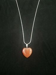 Carnelian Heart Necklace Red Quartz Gemstone Pendant on Sterling Silver Chain $9.99