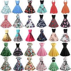 Women 50S 60S Rockabilly Vintage Swing Dress Evening Cocktail Party Ball Dresses