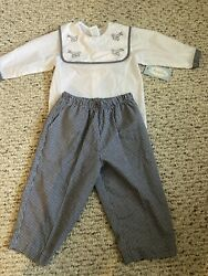 Auraluz baby boys 12 mth set vintage NWT gingham black white planes Embroidery $15.00