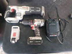 PORTER CABLE 20V Cordless Set Reciprocating Saw Drill Light Charger 2 Battery $129.95