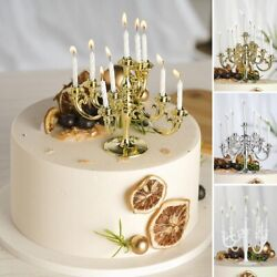 5 Inch 9 Arm Mini Candelabra Cake Topper with Candles Wedding Party Decorations $10.23