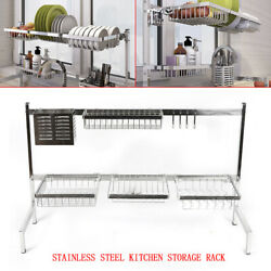 Large Over Sink Dish Drying Rack Drainer Kitchen Holder Shelf Stainless Steel $38.99