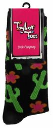Cactus Black Pair Womens Socks Desert Flowers OSFM Taylor Toes Southwest Gift $3.79