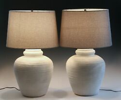 Pair Lamps Vintage Mid Century Beach Cottage Shabby Chic MCM Plaster 1975 $275.00
