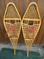 VINTAGE SNOWSHOES 48quot; Long x 14quot; Wide with Leather Bindings READY TO USE $59.90