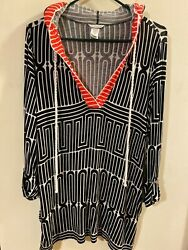 TRINA TURK Hooded Bathing Suit Cover Up Dress Blouse Size Large Grande $50.00