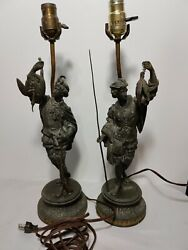 Antique Lamps Spelter French Soldier Hunting And Fishing Sculpture 21quot; tall $649.00