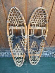 INTERESTING VINTAGE Snowshoes 36quot; Long x 10quot; with Bindings DECORATIVE $49.84