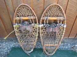 INTERESTING VINTAGE Snowshoes 30quot; Long x 14quot; with Leather Bindings DECORATIVE $49.85