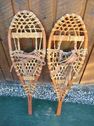 INTERESTING VINTAGE Snowshoes 33quot; Long x 10quot; with Leather Bindings DECORATIVE $49.73